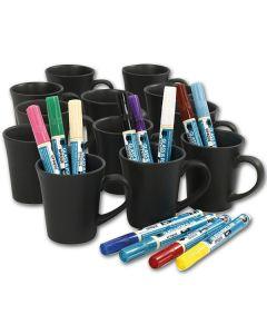 Porzellanbecher schwarz 36er Set mit Markern