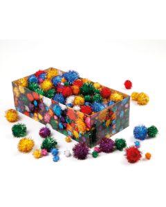 Kiga-Pack Glitter-Pompoms im Karton