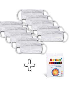 10 Gesichtsmasken + 8 Textilfilzstifte