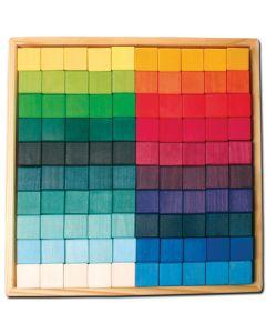 83431200 - Baukasten Mosaik-Quadrate 100 Teile im Holzrahmen
