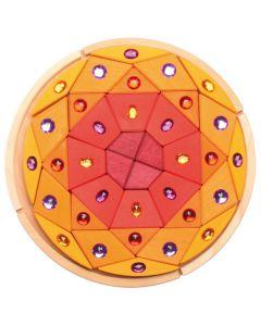 "Glitzer-Mandala ""Diamant"" rot-gelb"
