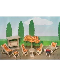 Puppenhaus Gartenmöbel 9-teilig