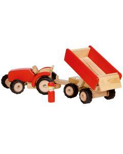 Traktor mit Anhänger rot
