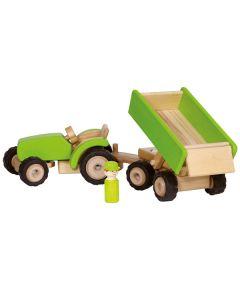 Traktor mit Anhänger grün