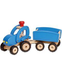 Großer Traktor mit Anhänger blau